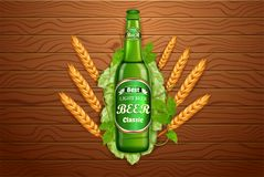 Realistic beer products ad. Vector 3d illustration. Light beer bottle template design. Alcoholic drink brand glass. Bottle advertisement poster layout vector illustration