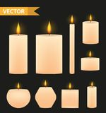 Realistic beige candles set. 3d burning candle collection. Isolated on a black background. Vector illustration. Realistic beige candles set. 3d burning candle Royalty Free Stock Image