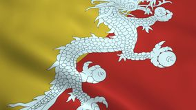 Realistic Bhutan flag. Waving in the wind. Seamless looping stock video footage