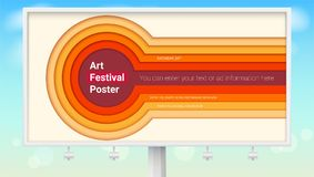 Realistic billboard with design of poster for art festival. Radial multi layers carving of paper. Abstract pattern of Royalty Free Stock Photo