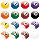Realistic Billiards Balls vector isolated on white background. All pool Billiards Balls isolated on white. Change just one global color swatch of bottom reflex vector illustration