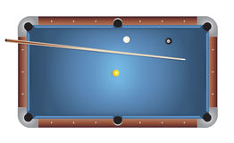 Realistic Billiards Pool Table Blue Felt Illustration. A realistic billiards pool table illustration. Blue felt top with wooden rails, stick, and balls. Vector Stock Photos