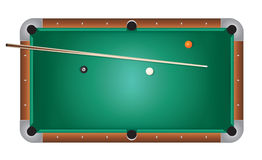 Realistic Billiards Pool Table Green Felt Illustration. A realistic billiards pool table illustration. Green felt top with wooden rails, stick, and balls. Vector Stock Image