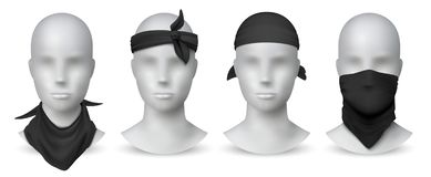 Realistic black bandana. Handkerchief or buff on white mannequin, biker blank head scarf or bandage template. Vector