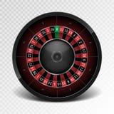 Realistic black casino roulette wheel  on transparent background. American gambling roulette wheel. Vector. Illustration EPS 10 Stock Photo