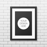 Realistic black frame A4 on the brick wall Royalty Free Stock Photo