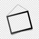 Realistic black frame hanging on the wall. Vector illustration Royalty Free Stock Photos