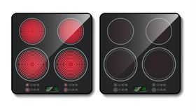 Realistic black induction cooktop, top view. Realistic black induction cooktop or glass-ceramic cooking panel, hob with four heating zones, isolated on royalty free illustration