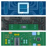 Computer IC chip template microchip brochure circuit board design abstract background vector illustration. Realistic black microchip on detailed printed circuit vector illustration