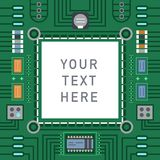 Computer IC chip template microchip on detailed printed circuit board design abstract background vector illustration. Stock Images