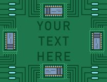 Computer IC chip template microchip on detailed printed circuit board design abstract background vector illustration. Royalty Free Stock Image