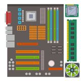 Computer IC chip template microchip on detailed printed circuit board design abstract background vector illustration. stock illustration