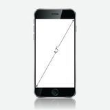 Realistic black mobile phone with blank screen  on white background. Royalty Free Stock Photo