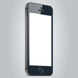 Realistic black mobile phone with blank screen  on white background. Vector EPS10 Stock Photos