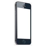 Realistic black mobile phone with blank screen  on white background. Vector EPS10 Royalty Free Stock Photo