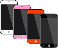 Realistic black mobile phones Stock Photo