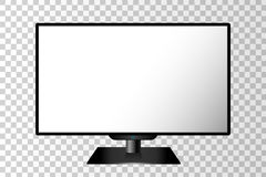 Realistic black modern TV monitor isolated Royalty Free Stock Photography