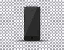 Realistic black smartphone in iphone style with blank screen  on white background. Vector illustration Stock Photos