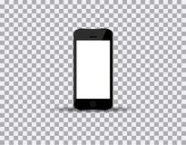 Realistic black smartphone in iphone style with blank screen  on white background. Vector illustration Stock Photo