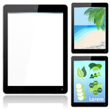 Realistic Black Tablet Computer with Beach and Inf. Vector with grouped items, named layers and with a separate layer to easily add your own image to tablet Stock Photo