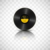 Realistic Black Vinyl Record. Retro Sound Carrier with mirror reflection isolated on transparent background.  vector illustration