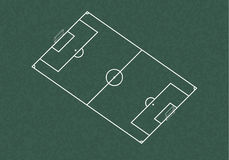 Realistic blackboard drawing football field.  Royalty Free Stock Images