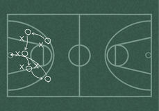 Realistic blackboard drawing outline of basketball Stock Photography
