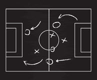 Realistic blackboard drawing a soccer or football game strategy. Vector illustration. Stock Photos