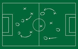 Realistic blackboard drawing a soccer or football game strategy. Stock Photos
