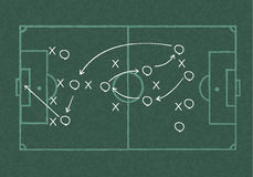 Realistic blackboard drawing a soccer game strategy Royalty Free Stock Photos