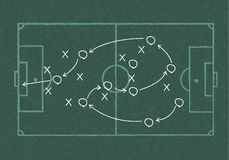 Realistic blackboard drawing a soccer game strategy Stock Photos