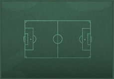 Realistic blackboard drawing a soccer game strategy Stock Image