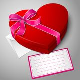 Realistic blank bright red heart shape box with Stock Photos