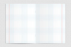 Realistic blank lined copy book spread. Vector illustration of realistic blank checked copy book spread  on transparent background Stock Image