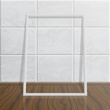 Realistic blank mock up frame on concrete wall. Vector empty blank white realistic mock up frame. Modern high tech interior. Concrete wall and wood floor. Frame Royalty Free Stock Photos