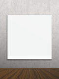 Realistic blank mock up poster on concrete wall. Vector empty blank white realistic mock up poster. Modern high tech interior. Concrete wall and wood floor Stock Photography