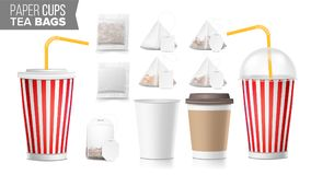 Realistic Blank Ocher Paper Cups Vector. Tea Bags Mock Up. Coffee Cup Blank. Soda, Soft Drinks Cup Template. Tube Straw. Disposable Paper Cups And Tea Bags Set Royalty Free Stock Photography
