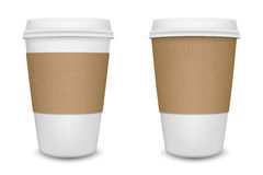 Realistic blank paper coffee cup set isolated on white background. Vector design template. Royalty Free Stock Photos