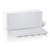 Realistic blank paper medicine package box with Royalty Free Stock Image