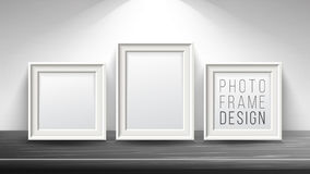 Realistic Blank Picture Frame Vector. Light Wood and Dark Wood Picture Frames Mock Up. Wooden Table On Interior Royalty Free Stock Image