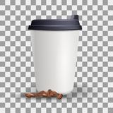 Realistic blank and plain paper cup mockup with coffee beans. Stock Photos