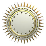 Realistic blank round shield with stars and spikes around, isolated high quality 3d render. Logo, badge, sign, achievement 3d design element Royalty Free Stock Photos