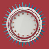 Realistic blank round shield with stars and spikes around, isolated high quality 3d render. Stock Images