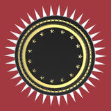 Realistic blank round shield with stars and spikes around, isolated high quality 3d render. Stock Photos