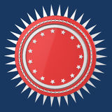 Realistic blank round shield with stars and spikes around, isolated high quality 3d render. Stock Photography