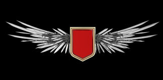 Realistic blank shield with stylized wings made of swords, blades and daggers Royalty Free Stock Photos