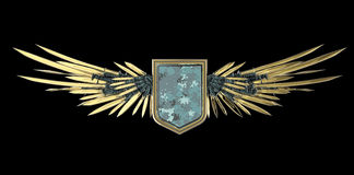 Realistic blank shield with stylized wings made of swords, blades and daggers Stock Photography