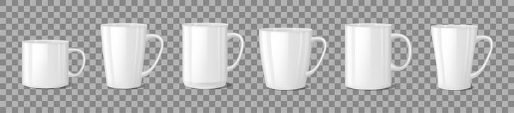 Realistic blank white coffee mug cups on transparent background. Cup template mockup isolated. teacup for breakfast. Vector illustration EPS 10 vector illustration