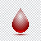 Realistic blood drop with shadow on transparent background Stock Photography