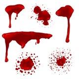 Realistic blood splatters vector set Stock Photos